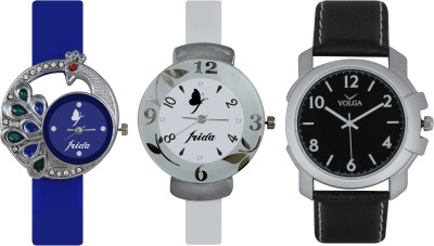 Frida Designer VOLGA Beautiful New Branded Type Watches Men and Women Combo547 VOLGA Band Analog Watch  - For Couple