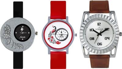 VOLGA Designer FVOLGA Beautiful New Branded Type Watches Men and Women Combo100 VOLGA Band Analog Watch  - For Couple