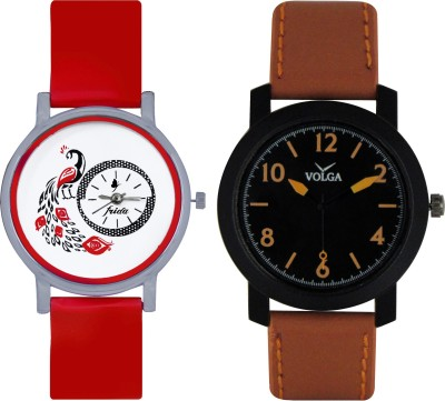 Frida Designer VOLGA Beautiful New Branded Type Watches Men and Women Combo161 VOLGA Band Analog Watch  - For Couple