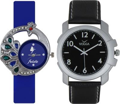 Frida Designer VOLGA Beautiful New Branded Type Watches Men and Women Combo66 VOLGA Band Analog Watch  - For Couple
