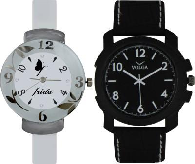 Frida Designer VOLGA Beautiful New Branded Type Watches Men and Women Combo193 VOLGA Band Analog Watch  - For Couple