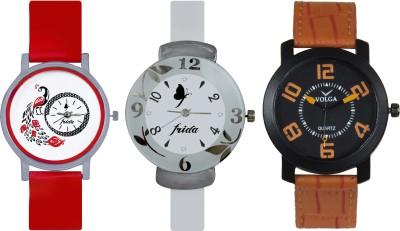 Frida Designer VOLGA Beautiful New Branded Type Watches Men and Women Combo754 VOLGA Band Analog Watch  - For Couple