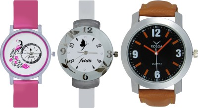 Frida Designer VOLGA Beautiful New Branded Type Watches Men and Women Combo651 VOLGA Band Analog Watch  - For Couple