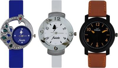 Frida Designer VOLGA Beautiful New Branded Type Watches Men and Women Combo531 VOLGA Band Analog Watch  - For Couple