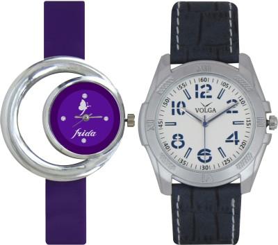 Frida Designer VOLGA Beautiful New Branded Type Watches Men and Women Combo129 VOLGA Band Analog Watch  - For Couple