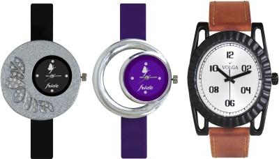 VOLGA Designer FVOLGA Beautiful New Branded Type Watches Men and Women Combo93 VOLGA Band Analog Watch  - For Couple