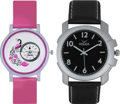 Frida Designer VOLGA Beautiful New Branded Type Watches Men and Women Combo103 VOLGA Band Analog Watch  - For Couple