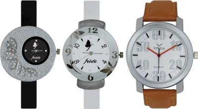 Frida Designer VOLGA Beautiful New Branded Type Watches Men and Women Combo391 VOLGA Band Analog Watch  - For Couple