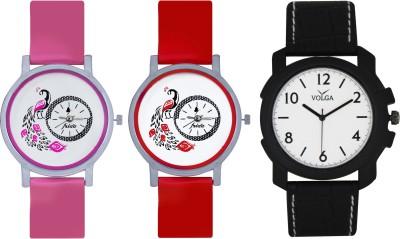 Frida Designer VOLGA Beautiful New Branded Type Watches Men and Women Combo599 VOLGA Band Analog Watch  - For Couple