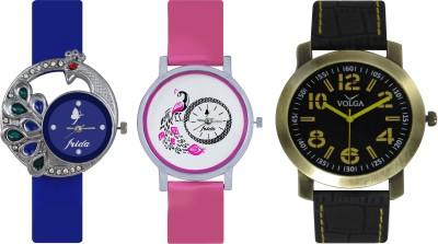Frida Designer VOLGA Beautiful New Branded Type Watches Men and Women Combo434 VOLGA Band Analog Watch  - For Couple