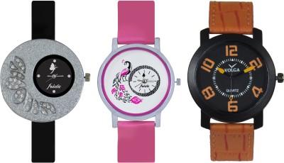 Frida Designer VOLGA Beautiful New Branded Type Watches Men and Women Combo273 VOLGA Band Analog Watch  - For Couple