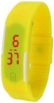 FabSale Led Magnet Rubber Wrist Band Yellow Colour Digital Watch  - For Boys, Men, Girls, Women