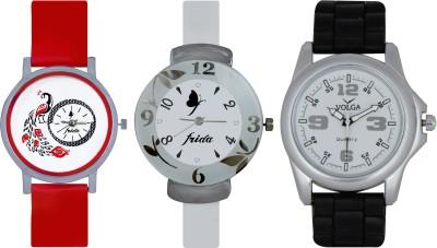 Frida Designer VOLGA Beautiful New Branded Type Watches Men and Women Combo741 VOLGA Band Analog Watch  - For Couple