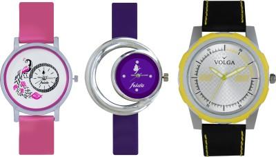 VOLGA Designer FVOLGA Beautiful New Branded Type Watches Men and Women Combo155 VOLGA Band Analog Watch  - For Couple