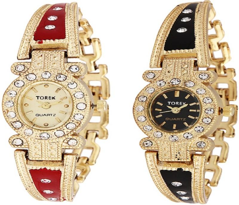 TOREK Round Diamond Studded Analog Watch For Women
