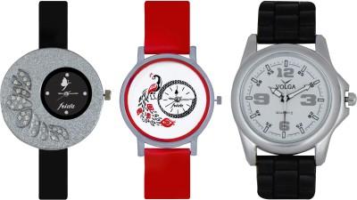 Frida Designer VOLGA Beautiful New Branded Type Watches Men and Women Combo324 VOLGA Band Analog Watch  - For Couple