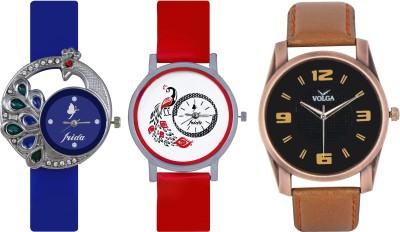 Frida Designer VOLGA Beautiful New Branded Type Watches Men and Women Combo497 VOLGA Band Analog Watch  - For Couple