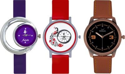 Frida Designer VOLGA Beautiful New Branded Type Watches Men and Women Combo681 VOLGA Band Analog Watch  - For Couple