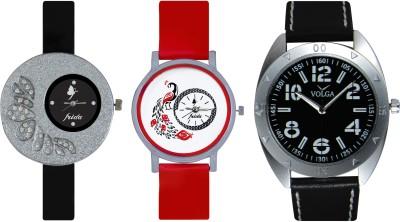 Frida Designer VOLGA Beautiful New Branded Type Watches Men and Women Combo357 VOLGA Band Analog Watch  - For Couple