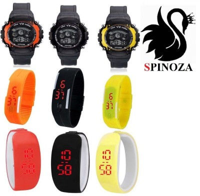SPINOZA led sport and bracelet type watches in orange black yellow in colors set of 9 for girls boys Digital Watch  - For Boys