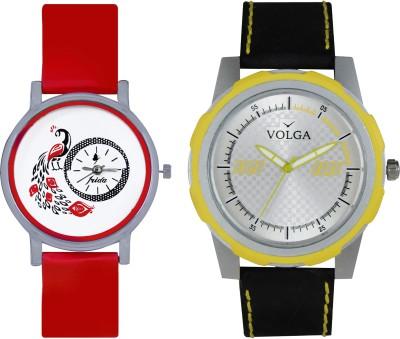 VOLGA Designer FVOLGA Beautiful New Branded Type Watches Men and Women Combo67 VOLGA Band Analog Watch  - For Couple