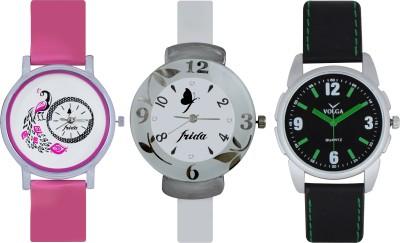 Frida Designer VOLGA Beautiful New Branded Type Watches Men and Women Combo649 VOLGA Band Analog Watch  - For Couple