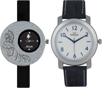 Frida Designer VOLGA Beautiful New Branded Type Watches Men and Women Combo5 VOLGA Band Analog Watch  - For Couple