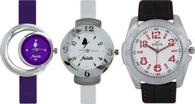 Frida Designer VOLGA Beautiful New Branded Type Watches Men and Women Combo726 VOLGA Band Analog Watch  - For Couple