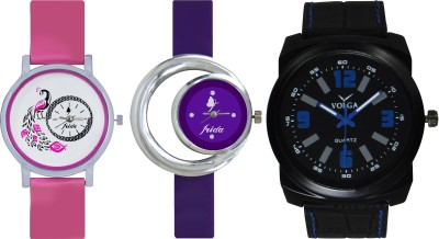 Frida Designer VOLGA Beautiful New Branded Type Watches Men and Women Combo581 VOLGA Band Analog Watch  - For Couple
