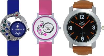 Frida Designer VOLGA Beautiful New Branded Type Watches Men and Women Combo429 VOLGA Band Analog Watch  - For Couple