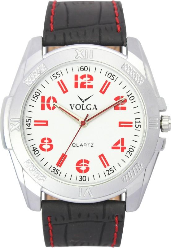 Volga White Round Dial Black Strap Fancy Stylish Analog Watch