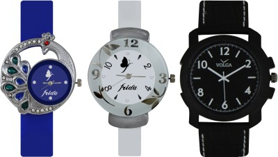 Frida Designer VOLGA Beautiful New Branded Type Watches Men and Women Combo526 VOLGA Band Analog Watch  - For Couple