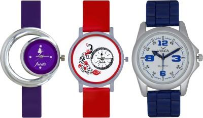 Frida Designer VOLGA Beautiful New Branded Type Watches Men and Women Combo668 VOLGA Band Analog Watch  - For Couple