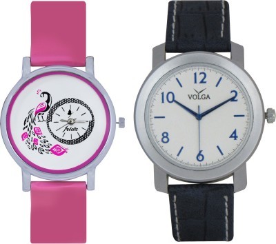 Frida Designer VOLGA Beautiful New Branded Type Watches Men and Women Combo79 VOLGA Band Analog Watch  - For Couple