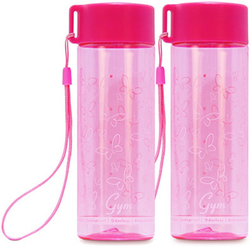 G-PET Polycarbonate Gym 250 ml Water Bottles(Set of 2, Pink)