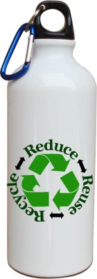 Tiedribbons Our Earth_Our Care_World Envronment Day_Green Recycle _White Sippers 600 ml Water Bottle