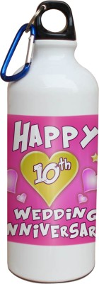 Tiedribbons 10th Happy Anniversary White Travel 600 ml Water Bottle
