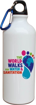Tiedribbons Our Earth_Our Care_World Envronment Day_Green Foot _White Sippers 600 ml Water Bottle