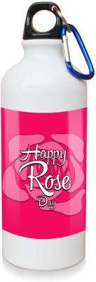 Sky Trends Gift Happy Rose Day With Rose Background White Sipper Bottle 600 ml Water Bottle