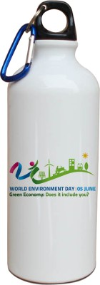 Tiedribbons Our Earth_Our Care_World Envronment Day_Green Economy _White Sippers 600 ml Water Bottle