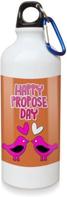 Sky Trends Gift Happy Propose Day with Love birds White Sipper Bottle 600 ml Water Bottle