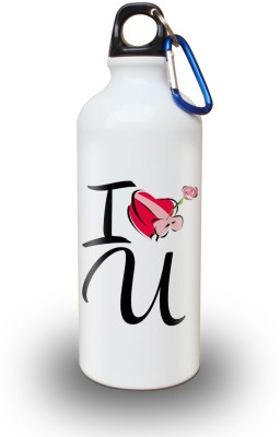Sky Trends Gift I Love You With Heart Flower White Sipper Bottle 600 ml Water Bottle