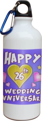 Tiedribbons 26th Happy Anniversary White Travel 600 ml Water Bottle