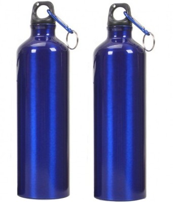 Tuelip Aluminium Durable Sports Water Bottle For College,School Bottle 750 ML With Carabiner Pack Of 2 (Blue) 750 ml Water Bottles(Set of 2, Blue)