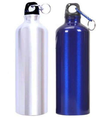 Tuelip Aluminium Durable Sports Water Bottle For College,School Bottle 750 ML With Carabiner Pack Of 2 (Silver & Blue) 750 ml Water Bottles(Set of 2, Silver, Blue)