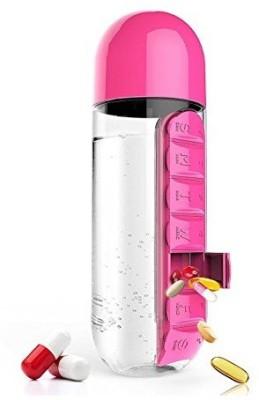 Quoface pill water bottle 600 ml Bottle(Pack of 1, Pink) at flipkart