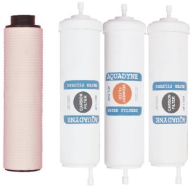 AQUADYN 2 Activated Carbon+1 Sediment Filter+ 1 PP Spun for PreFilter- Quickfit type for self service of all RO Water Purifiers Solid Filter Cartridge(Absolute 0.2 microns, Pack of 4)