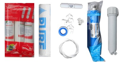 Hi-Tech 1 Year RO service Kit with Inline set, TFC-Micro (MCM) 80 GPD membrane, Housing (MH), Pure Spun and Other Accessories Solid Filter Cartridge(0.001, Pack of 8)
