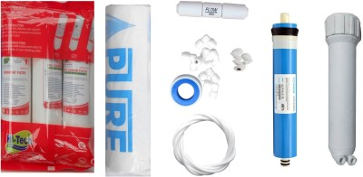 Hi-Tech 1 Year RO service Kit with Inline set, Vontron 75 GPD membrane, Housing (MH), Pure Spun and Other Accessories Solid Filter Cartridge(0.001, Pack of 8)