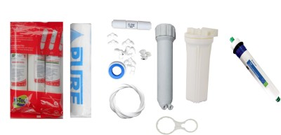Hi-Tech 1 Year RO service Kit with Inline set, Pentair 75 GPD membrane, MH, Bowl, Pure Spun and Accessories Solid Filter Cartridge(0.001, Pack of 10)